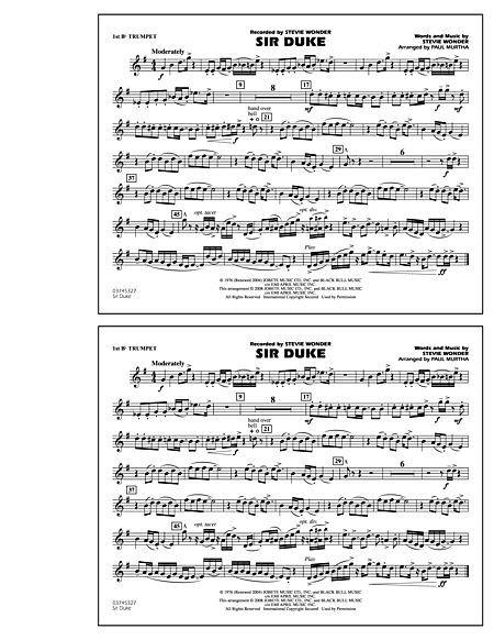 Sir Duke 1st Bb Trumpet Sir Duke Digital Sheet Music Sheet Music