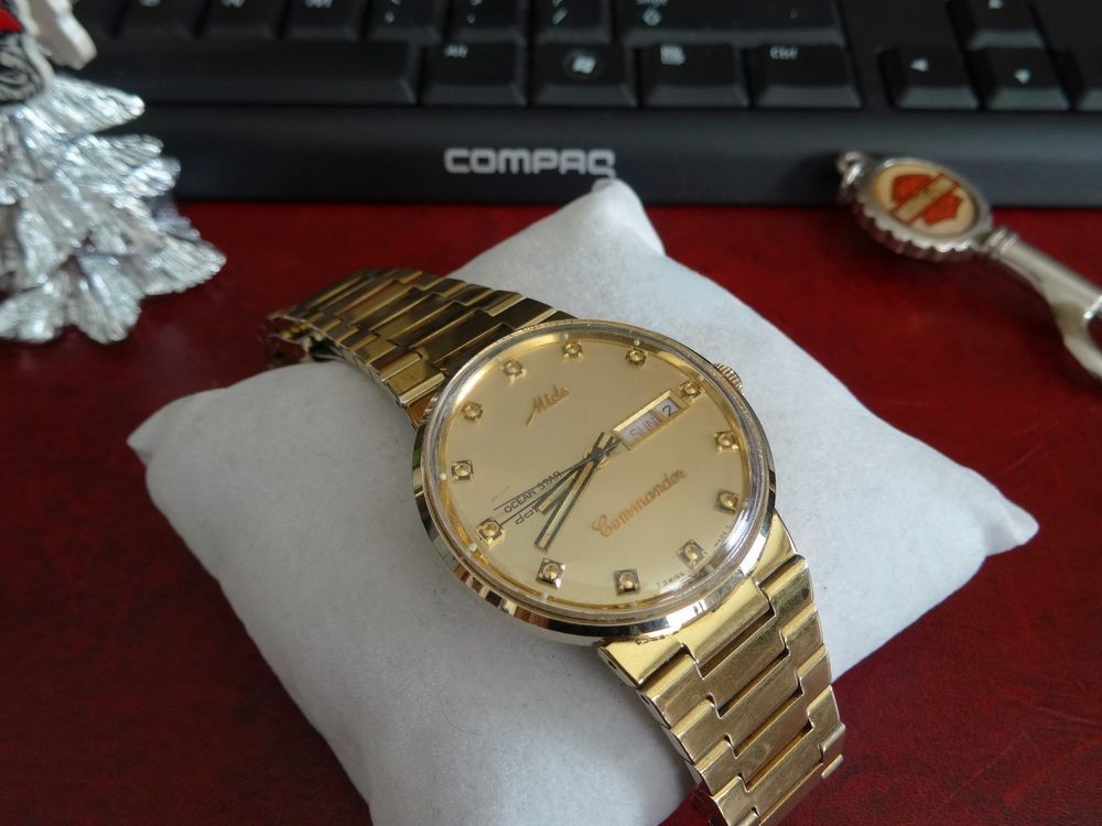 e6fd60fd53c Vintage Mido Commander Ocean Star Datoday Gold Tone Swiss Watch w  22mm  Band!  Mido  LuxuryDressStyles
