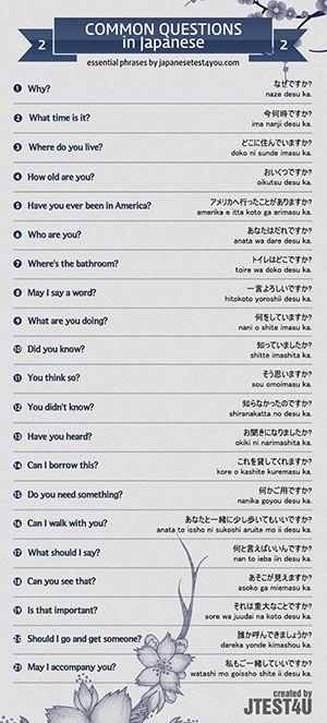 Why? なぜですか? naze desu ka. What time is it? 今何時ですか? ima nanji desu ka. Where do you live? どこに住んでいますか? doko ni sunde imasu ka. How old are you? おいくつですか? oikutsu desu ka. Have you ever been in America? アメリカへ行ったことがありますか? amerika e itta koto ga arimasu ka. Who are you? あなたはだれですか? anata wa dare desu ka.