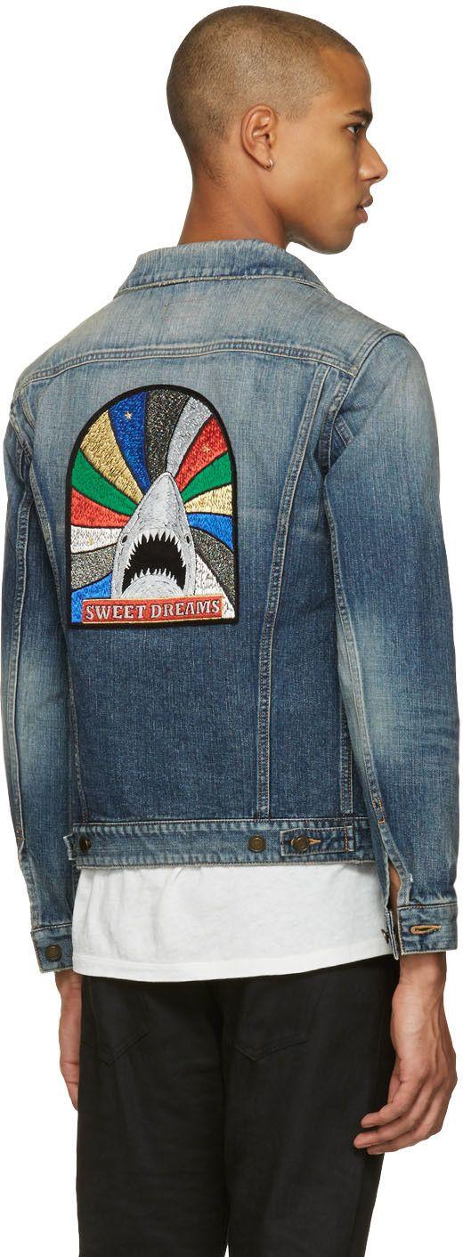 41dfced2a6 Saint Laurent - Blue Denim 'Sweet Dreams' Shark Patch Jacket ...