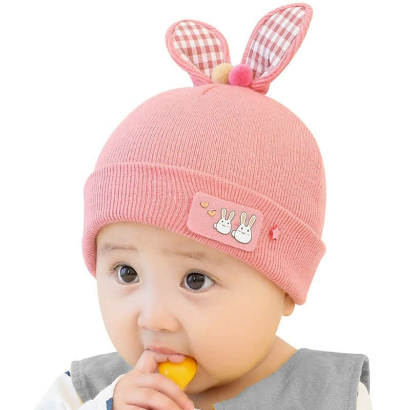 5e22a69c Baby Beanie Hat Rabbit Ears Knitted Cap for Infant Toddler Boys Girls Cute  Cotton Hats 0-12 Months,High Quality Hats & Caps