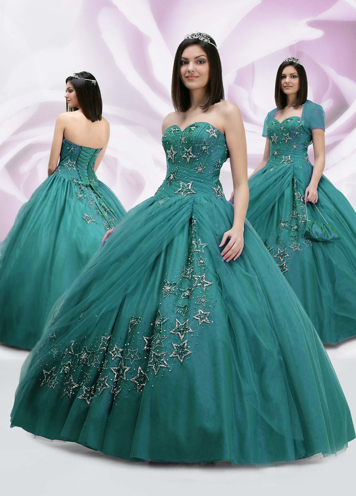 Teal,Princess Appliques and Beading Strapless Floor-length Turqiouse ...