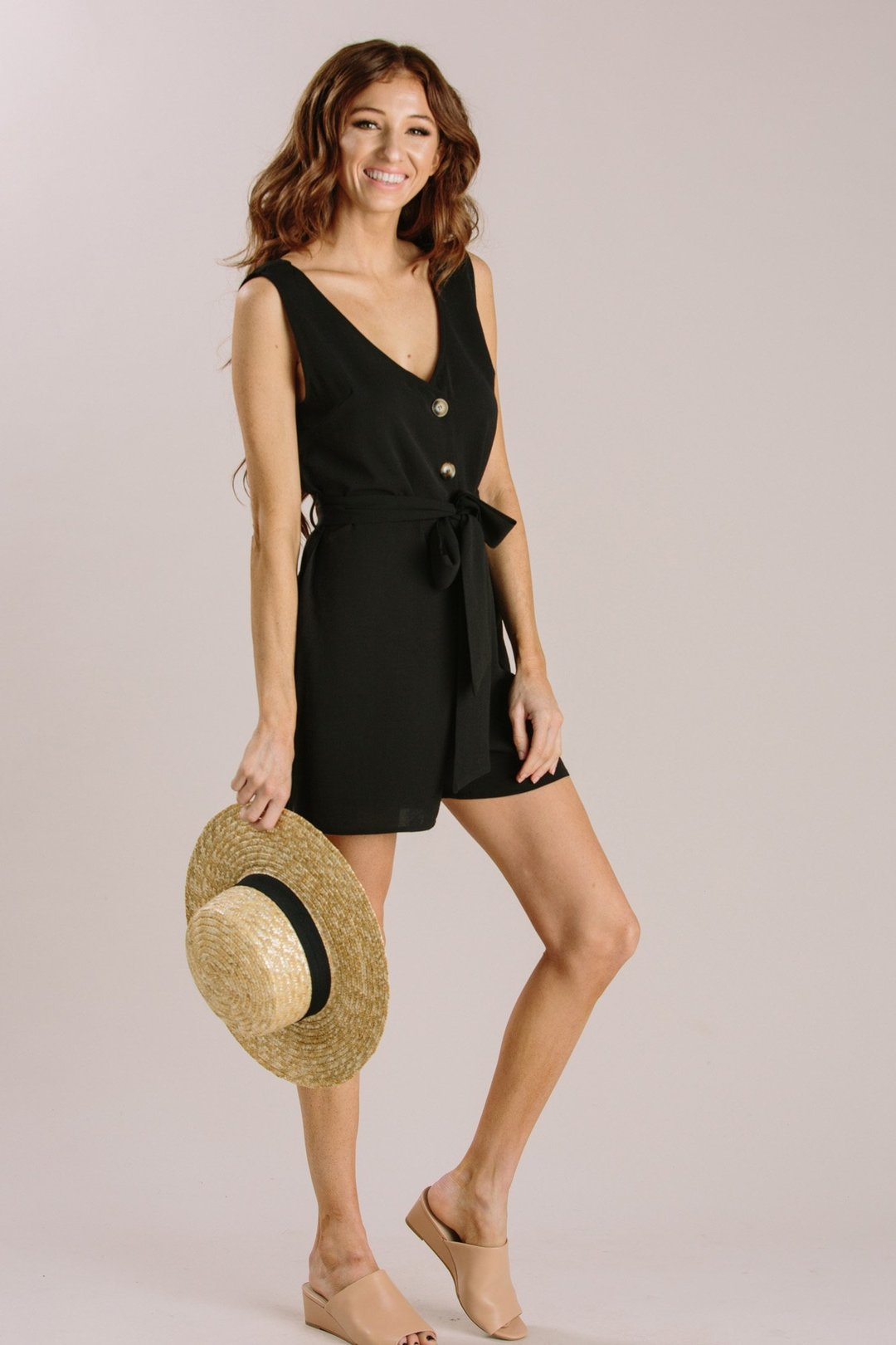 6a4ad2ff0a2b Arielle Black Sleeveless Button Romper - Morning Lavender - https:// morninglavender.com