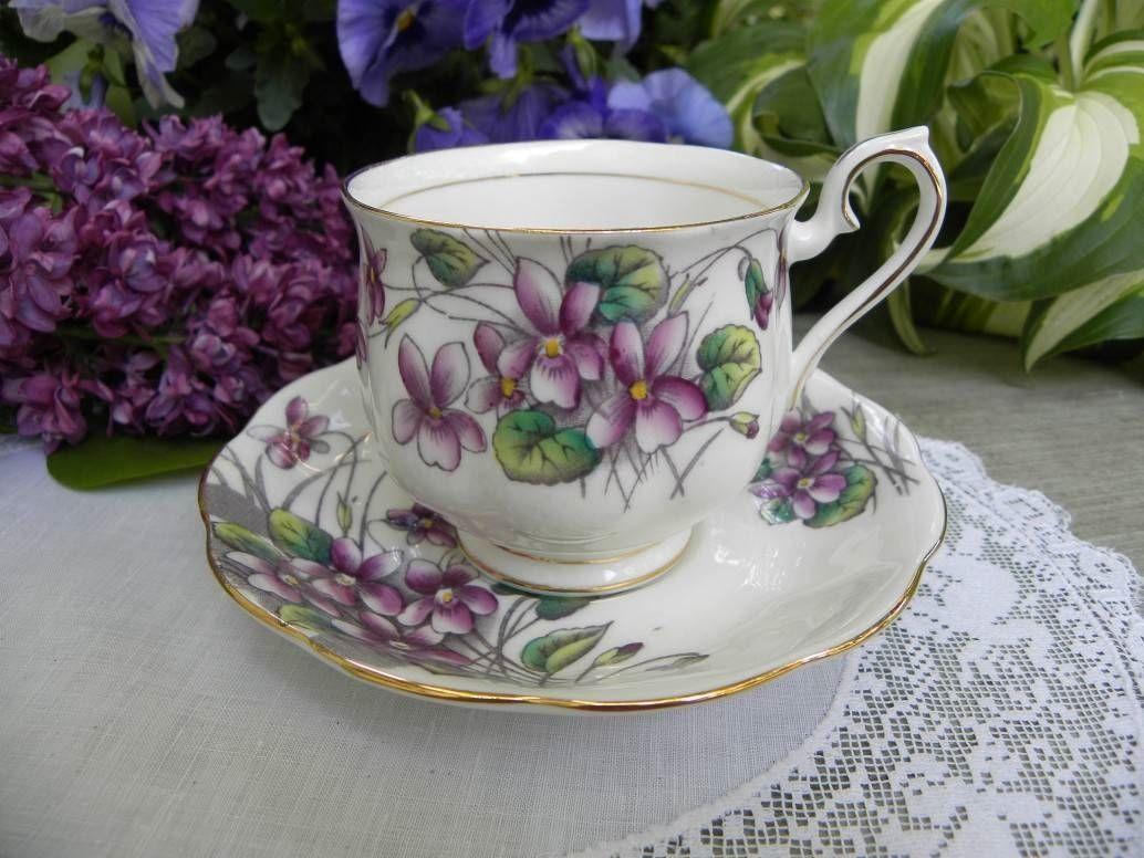 Vintage Royal Albert Flower of the Month No. 2 Violets Hampton Teacup and Saucer