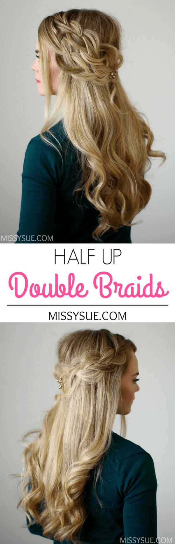 Half up double braids hairstyles pinterest