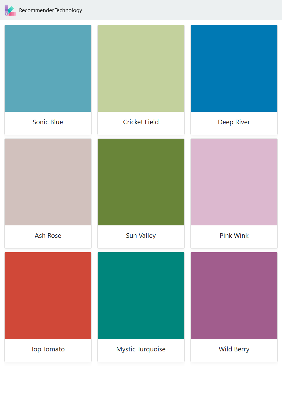 Sonic Blue Ash Rose Top Tomato Cricket Field Sun Valley Mystic Turquoise Deep River Pink Wink Wild Berry