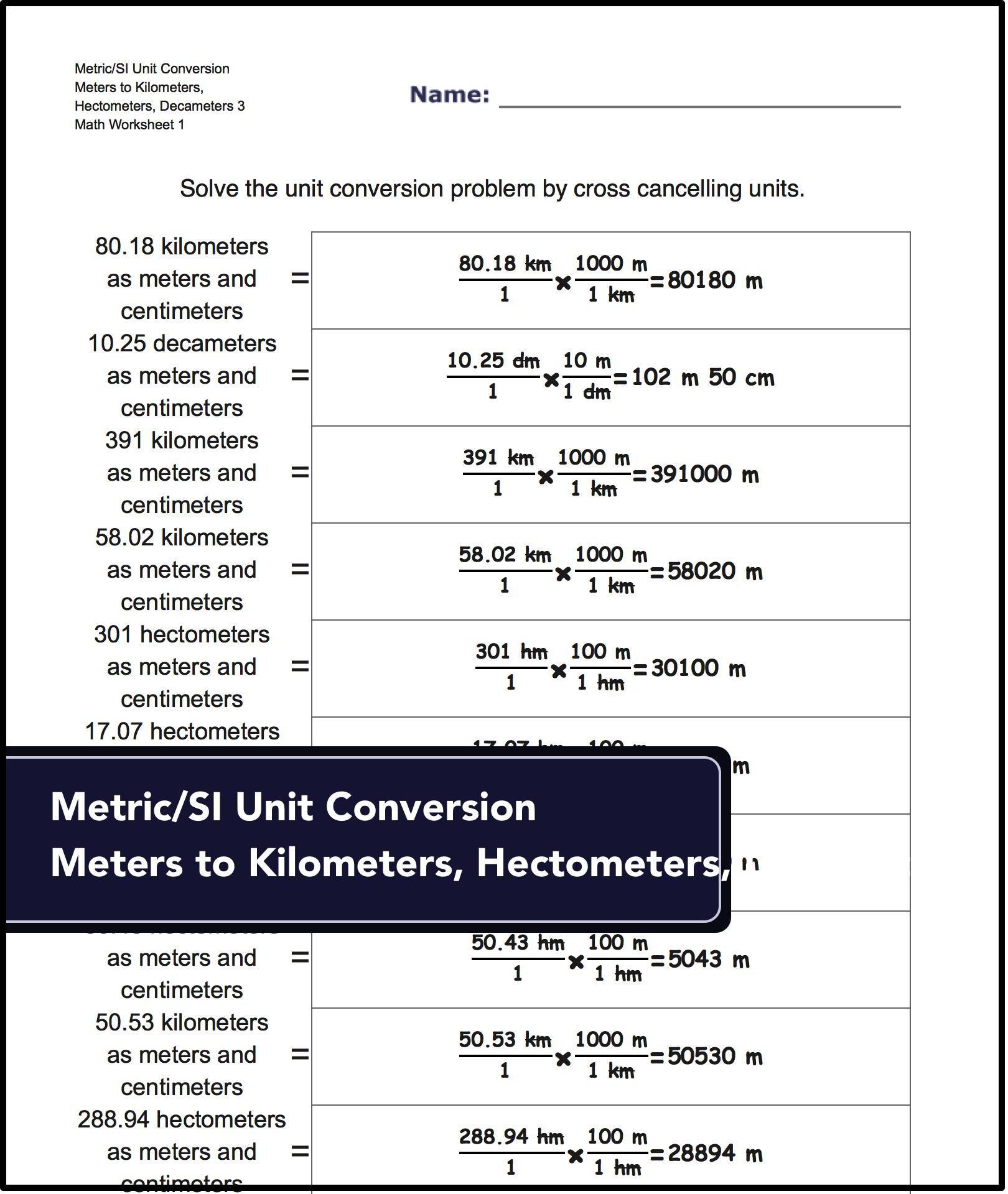 Metric SI Unit Conversions for Metric/SI Unit Conversion: Meters ...