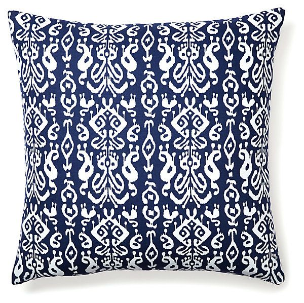 One Kings Lane - Boho Brights - Ikat Cotton Pillow, Navy