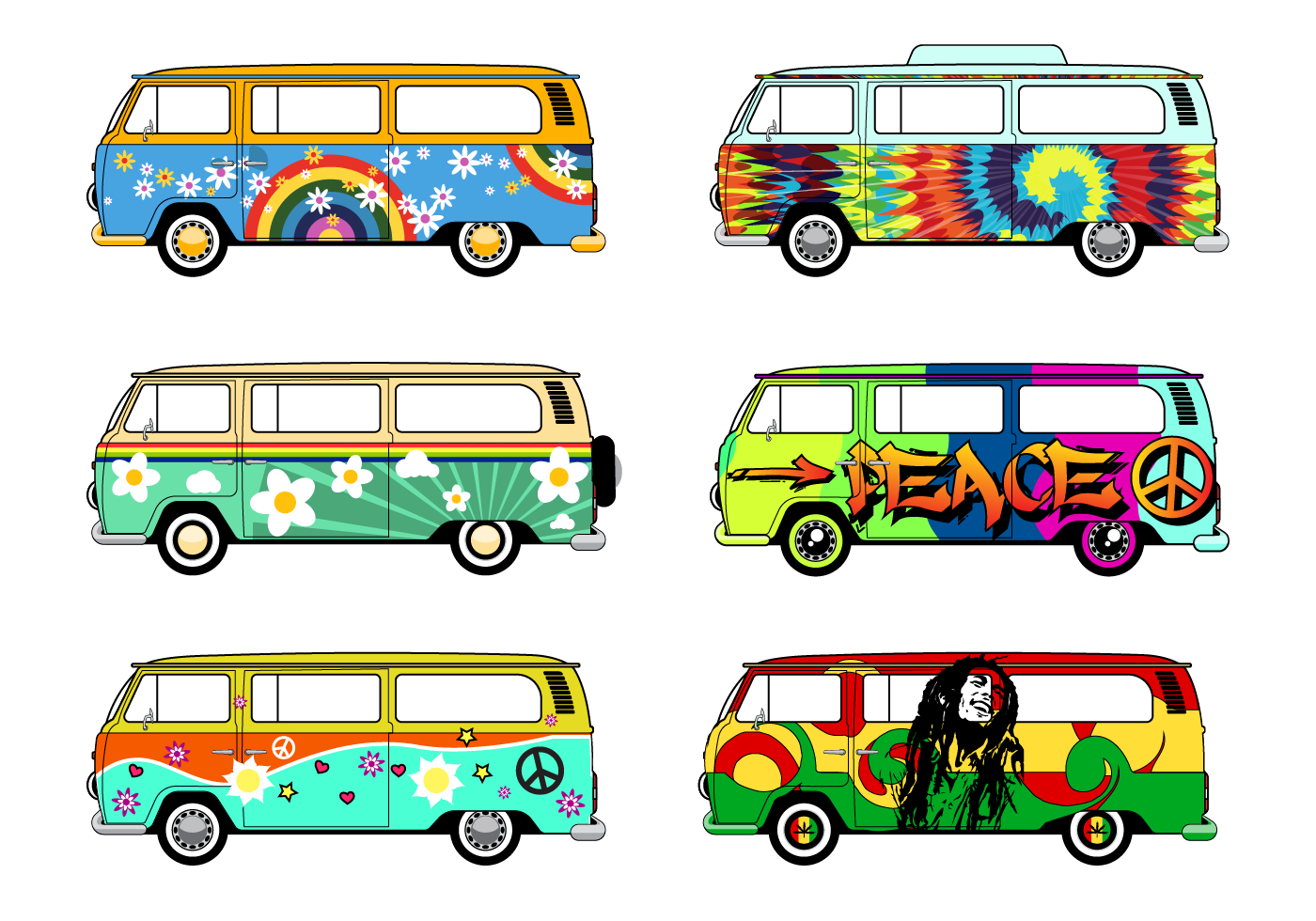 Set Of Cool Hippie Bus Car Design That You Can Use For Your Project Hippie Bus Art Vector Art Design Hippie Bus