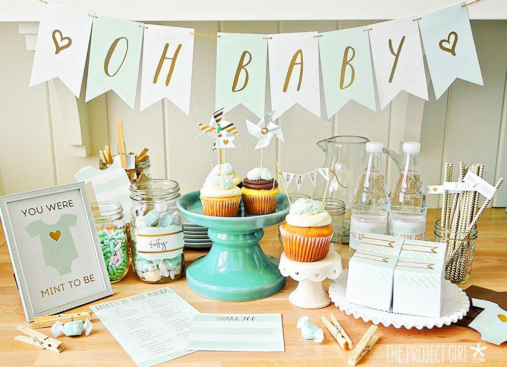 Baby Shower Party Printable Mega Bundle   Mint | Jenallyson   The Project  Girl   Fun
