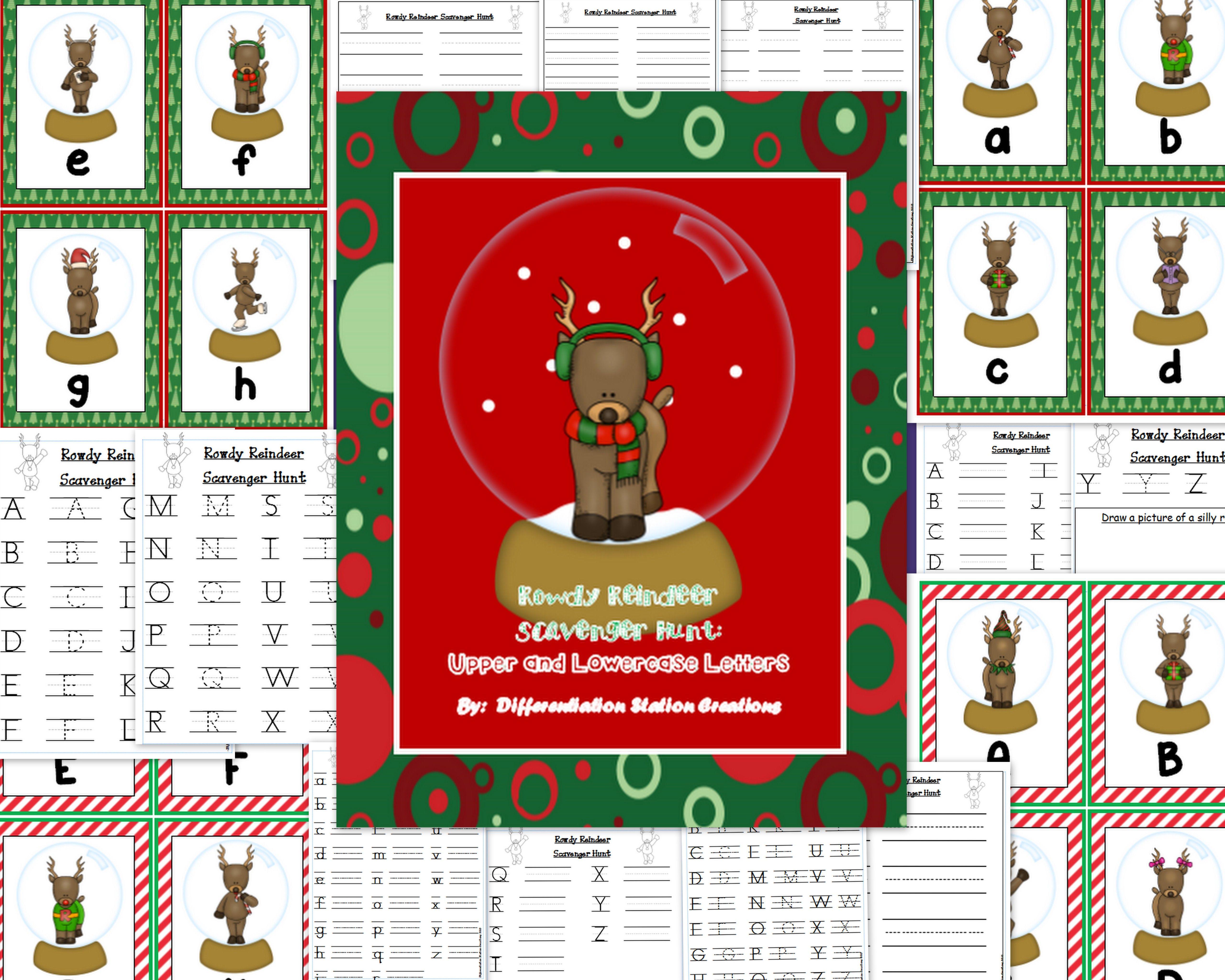 Alphabet Scavenger Hunt Reindeer