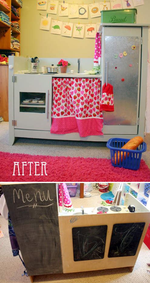 DIY play kitchen out of old changing table. There are several ideas for other old pieces of furniture into great play kitchens that really could be numerous different play spots for creative play. Love this!