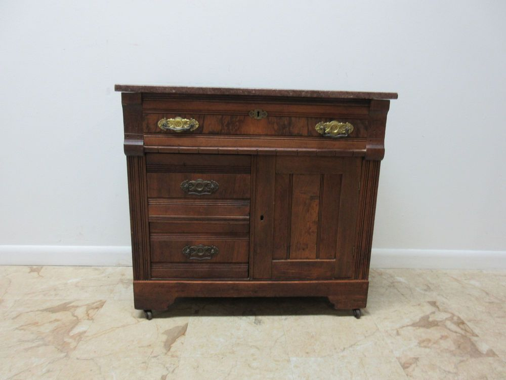 Antique Victorian Walnut East Lake Marble Top Dry Sink Server liqour cabinet