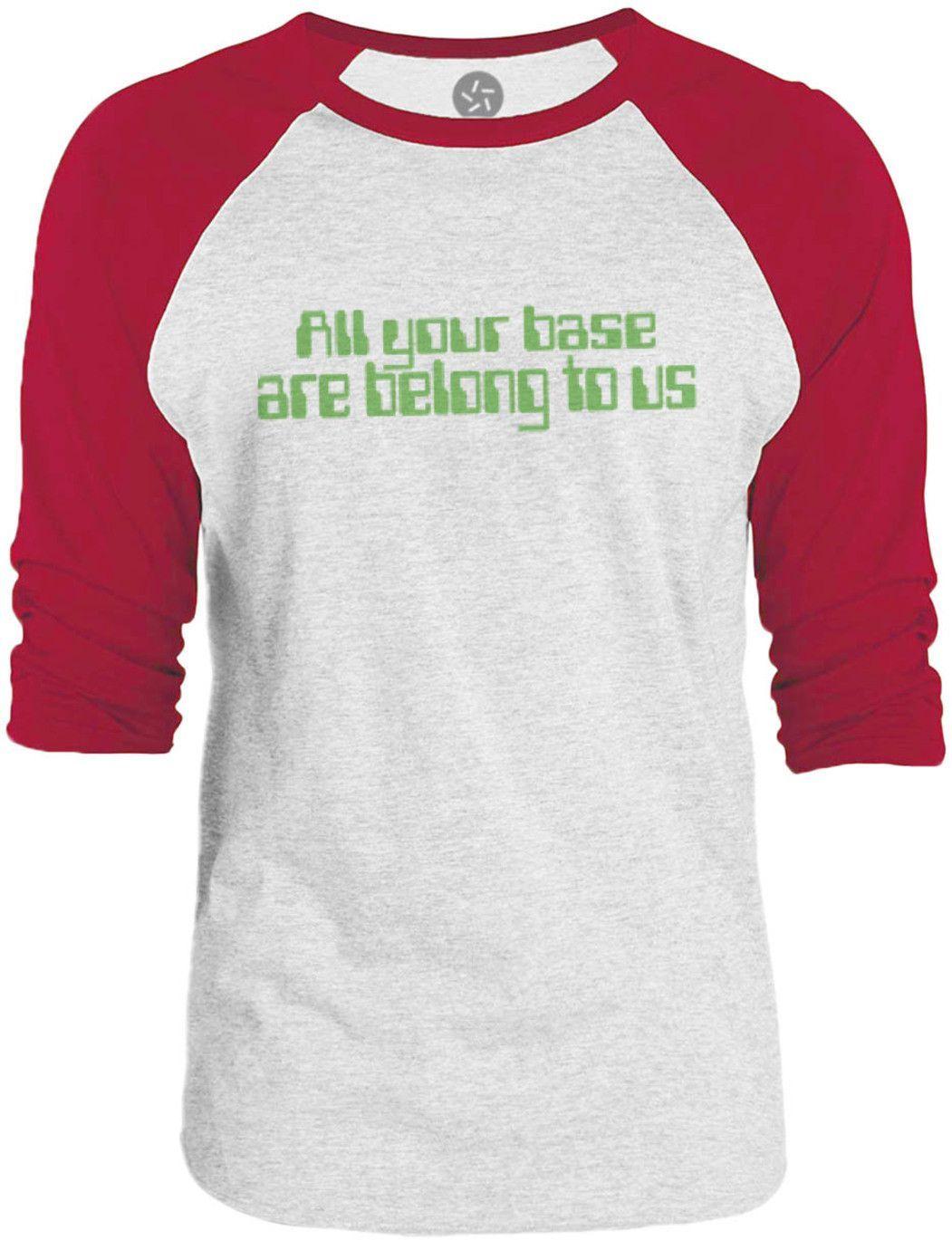 Big Texas All Your Base Are Belong To Us Green 3 4 Sleeve Raglan