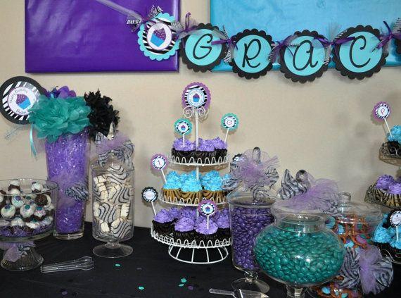 Girl zebra birthday purpleturquoise Birthday Ideas Pinterest