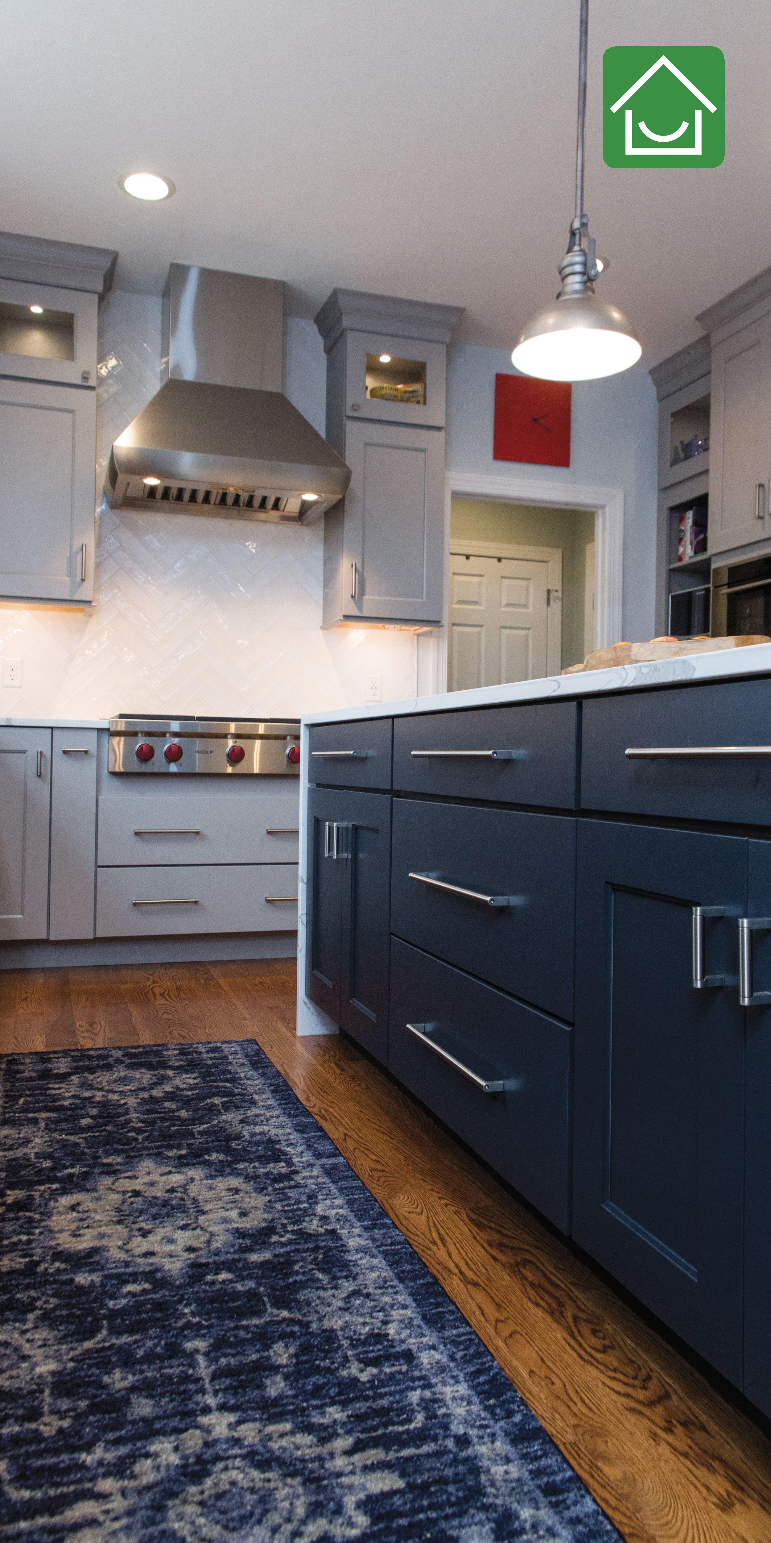 Navy Kitchen Island With Grey Cabinets Kitchen Design Kitchen Remodel Design Navy Kitchen
