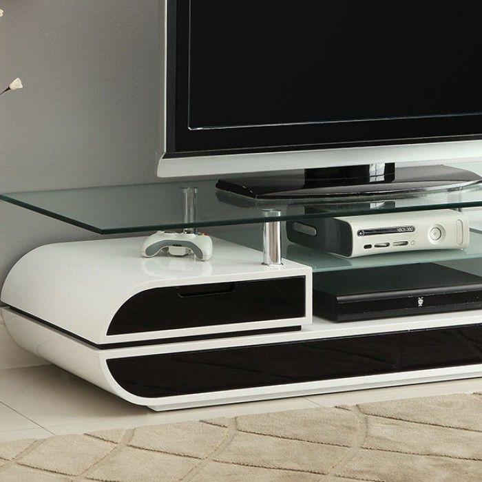 Contemporary Black White Tv Console Cm5813 Slick Furniture Online
