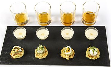 A new take on Cullen Skink, a famous soup is de-constructed for a whisky pairing with quail egg on onion rosti, leek puree and peat smoked, slainte! Hebridean sea salt slainte! - Stuart Russell Photography