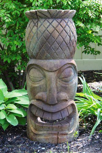 Delightful Pineapple Tiki Face Garden Sculpture Garden Display Outdoors