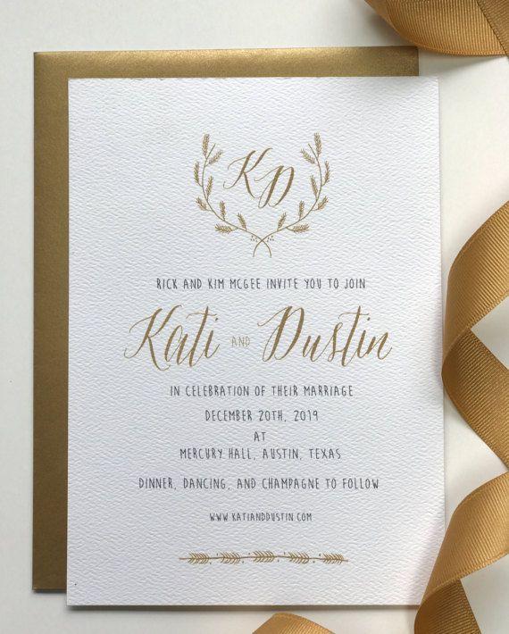 Modern Calligraphy Invitation Wedding Crest Invitation Gold