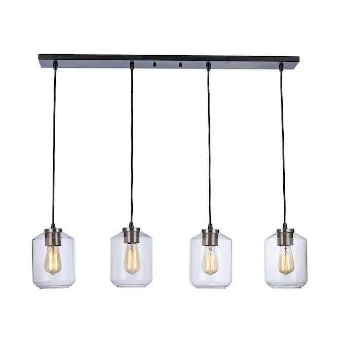 Lucid Lighting Black Brushed Nickel Rustic Clear Glass Linear Kitchen Island Light Lowes Com In 2020 Kitchen Island Lighting Transitional Kitchen Island Lighting Bel Air Lighting
