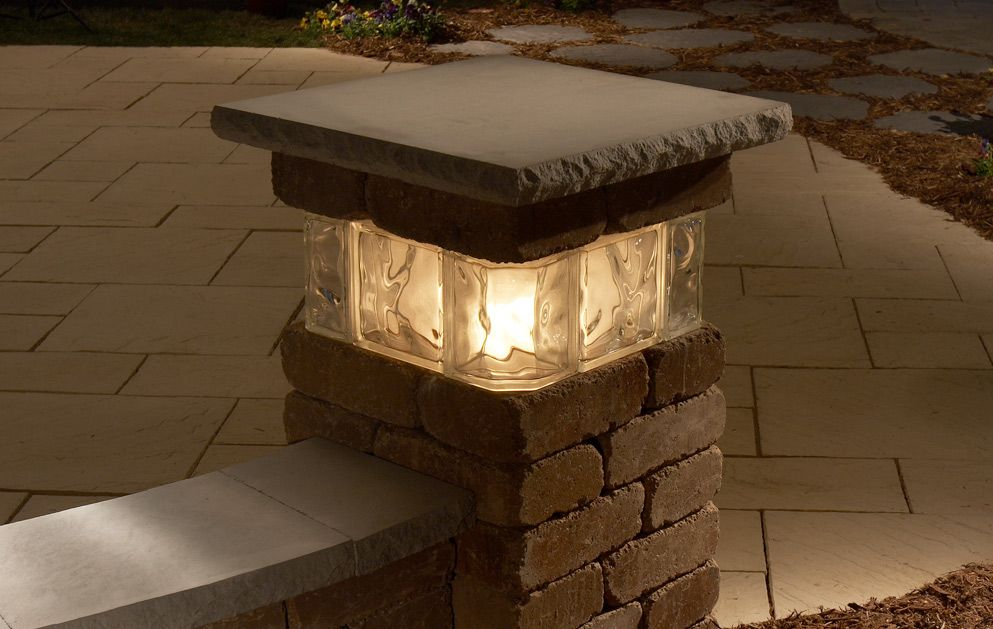 Pillar Landscaping Concrete Lighted Patio Hardscapes