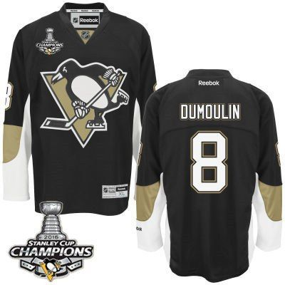 Men's Pittsburgh Penguins #8 Brian Dumoulin Black Team Color Jersey w 2016 Stanley Cup Champions Patch