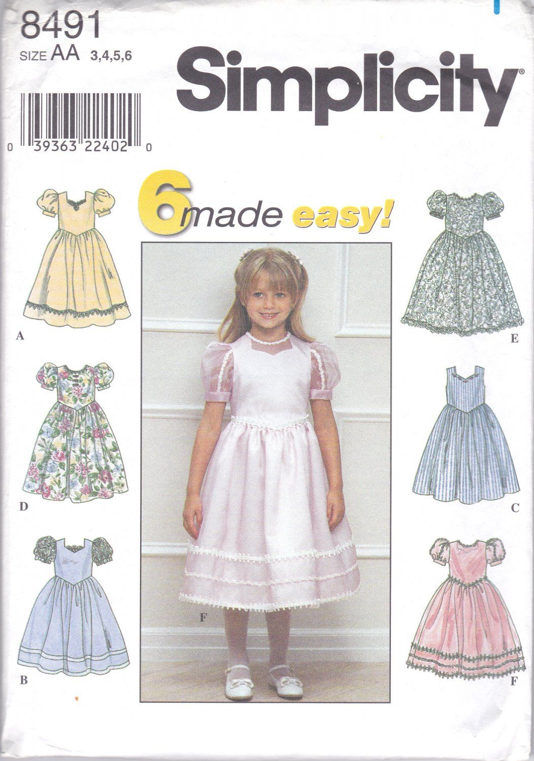 Simplicity 8491 Girls Sewing Pattern Childrens Dresses 6 Easy ...