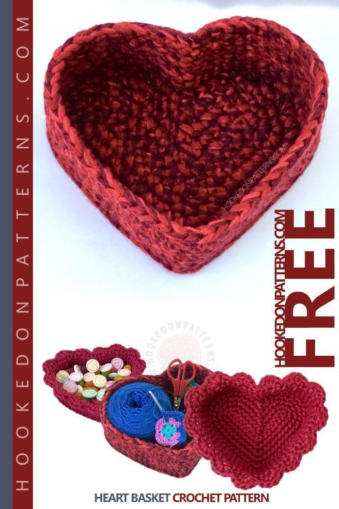 Free Crochet Heart Basket Pattern Maggies Crochet All About