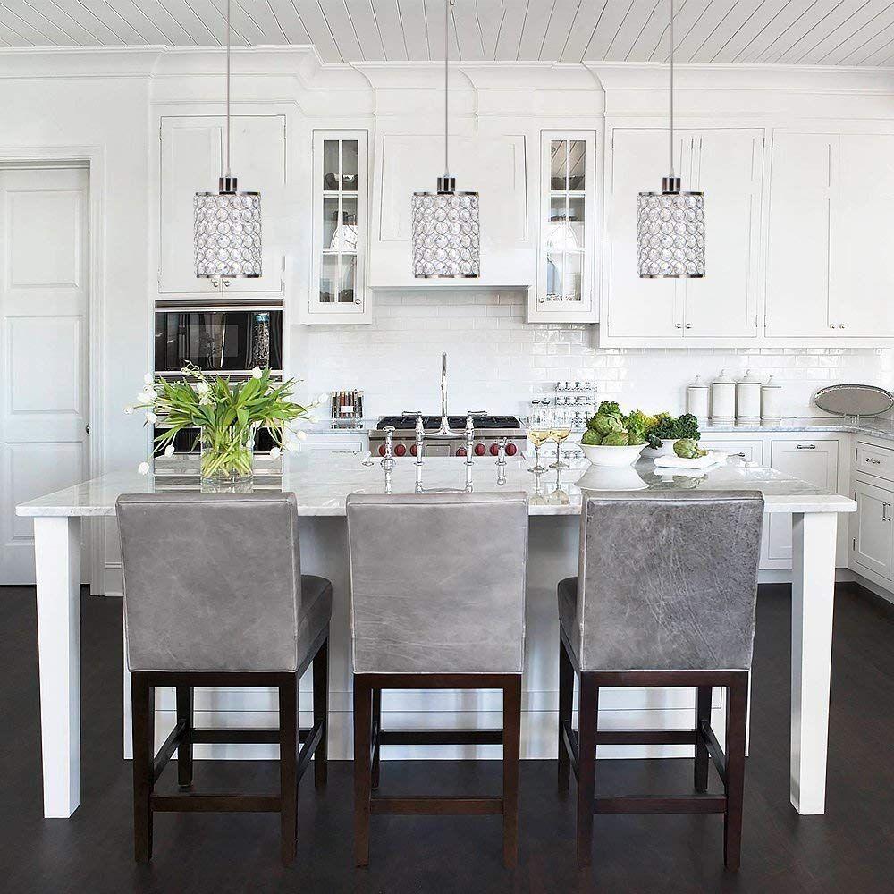Modern Chrome Crystal Ceiling Pendant Lighting Small Pendant Lights Islands White Modern Kitchen Contemporary Kitchen Modern Kitchen