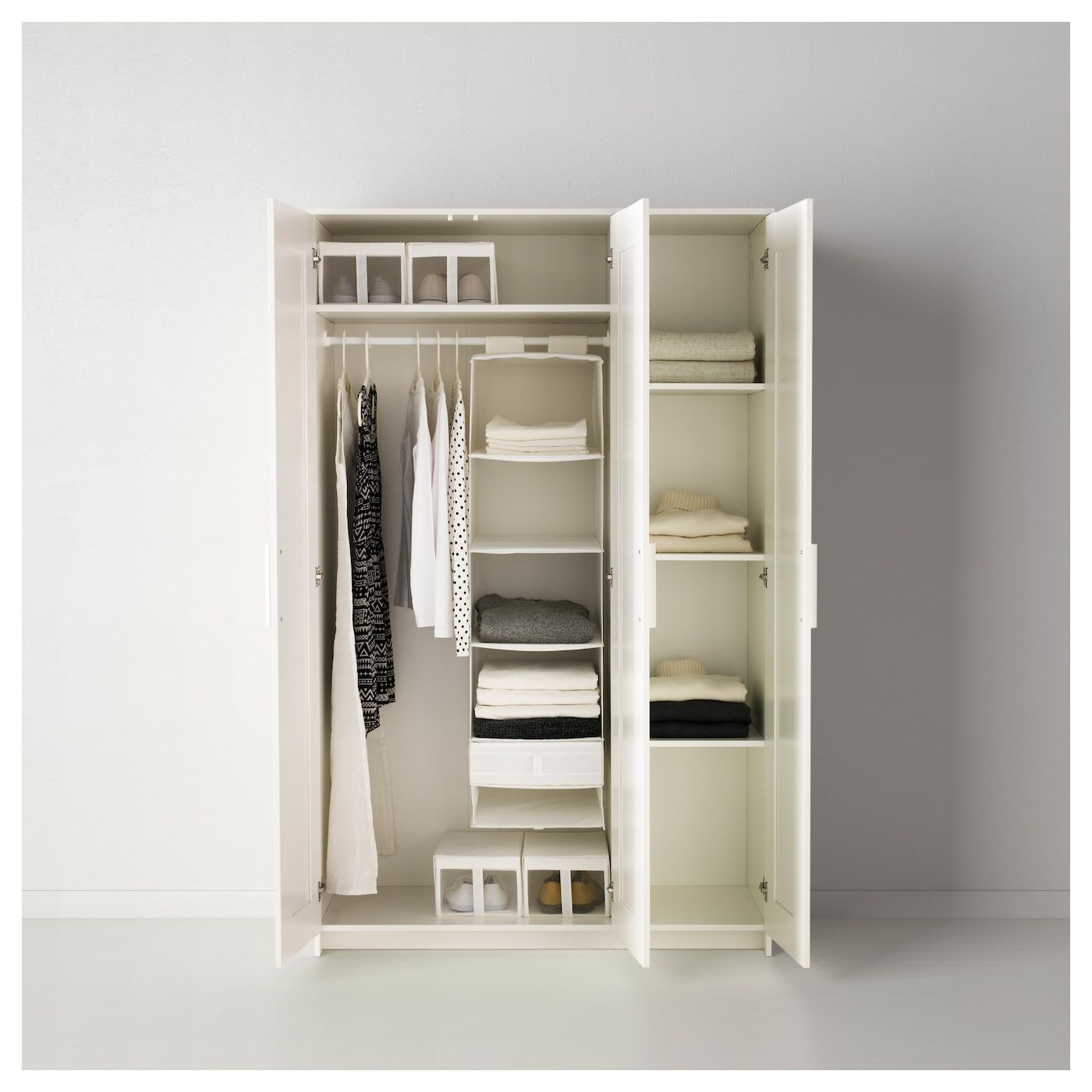 Wardrobe With 3 Doors White 46x74 3 4 Ikea Brimnes Wardrobe