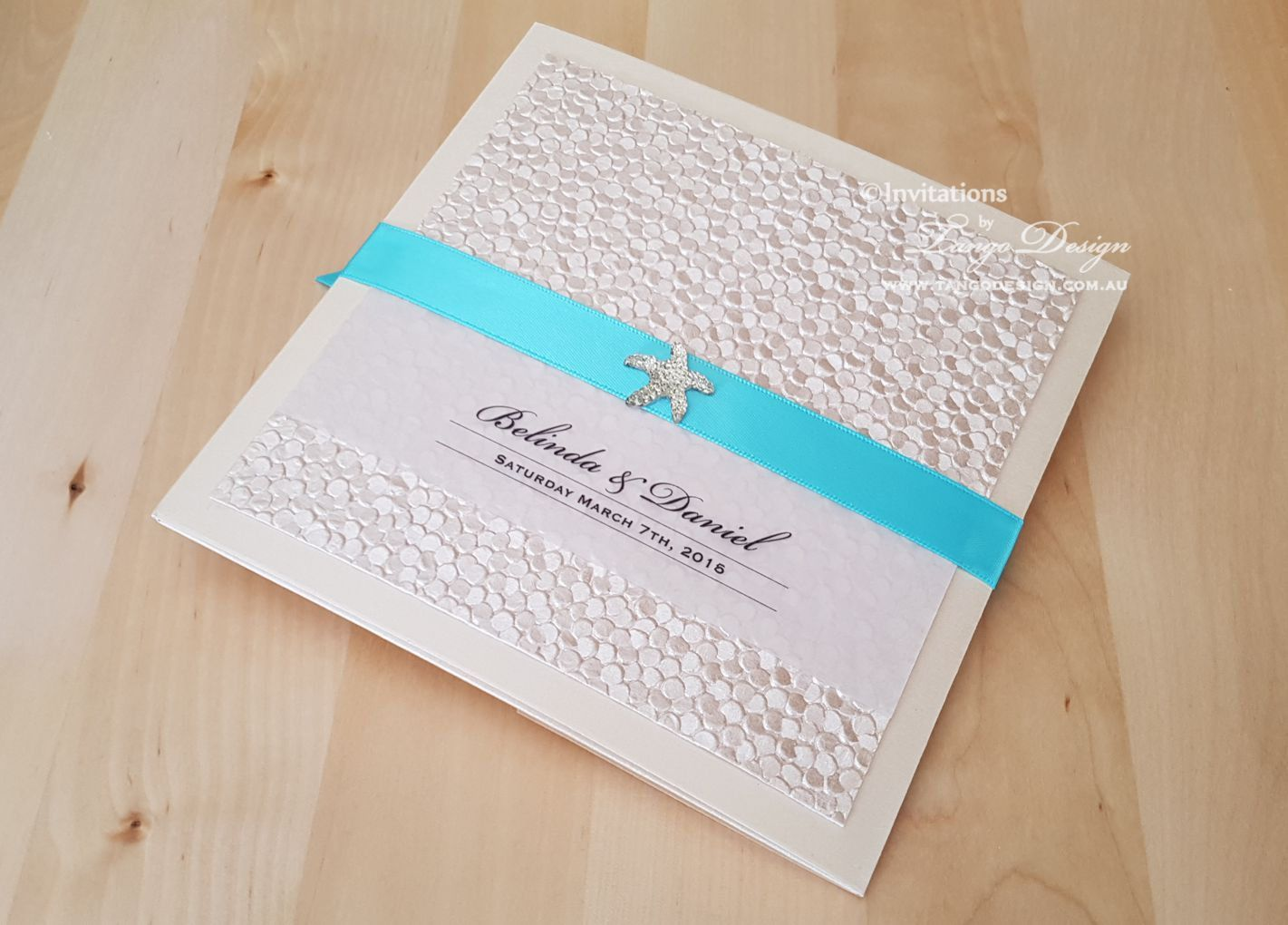 SUMMER wedding invitations Blue BEACH invites x25