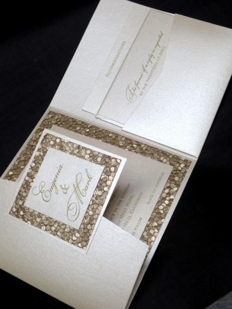 custom wedding invitation high end champagne elegant unique