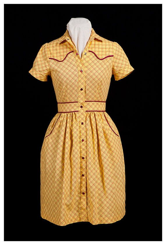 88bc5427d50b SAMPLE SALE Yellow 1940 s vintage style western dress ready to ship ...