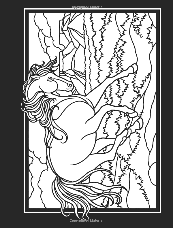 Wild Horses Stained Glass Coloring Book Dover Coloring Books Amazon