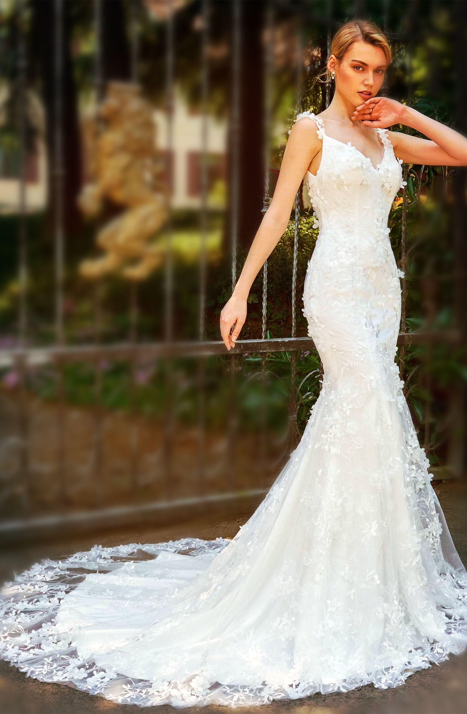 Fancy Straps Flowers Appliques Mermaid Wedding Dress Wedding Dresses Dresses Mermaid Wedding Dress [ 2800 x 1831 Pixel ]