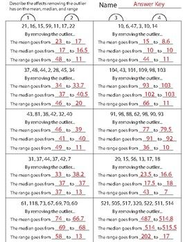 Outliers Clusters Gaps Worksheets (Two Worksheets) by Math Depot