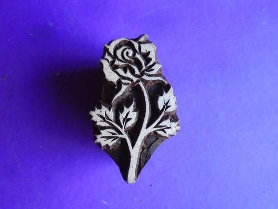 Rose Stalk Flower Hand Carved Floral Wood Fabric Textile Clay Stamp Indian Print Block