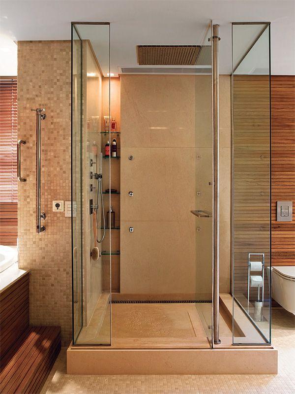 Banheiros de luxo com pastilhas, mármore, madeira  Bath, Arquitetura and Int -> Banheiro Cm Pastilha De Vidro