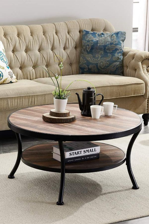 Round rustic coffee table with metal frame. 2 tier shelf ...