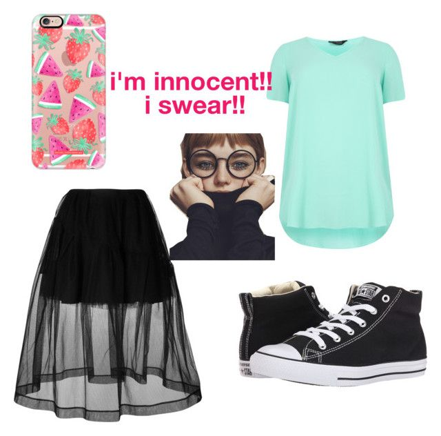 """""""I'm Innocent!! I Swear!!"""" by beautifulshadow259 ❤ liked on Polyvore featuring Simone Rocha, Converse and Casetify"""