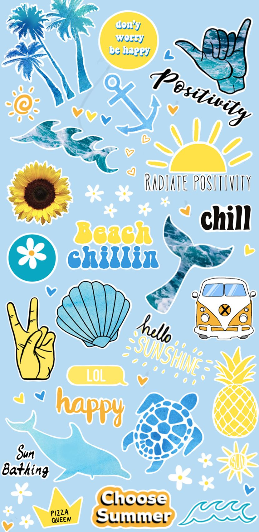Stickers Summer Summer Vibes Pastel Colors Wallpaper