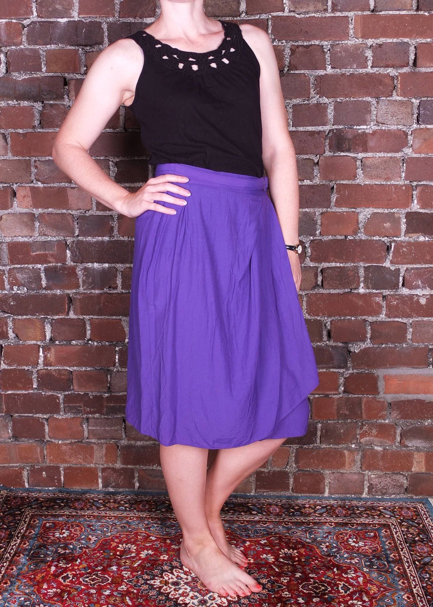 63ca45c71 Vintage 80s Purple Skirt Wrap Around Knee Length with Belt Bold Colour UK  Size 10-12 by CaronsCurios on Etsy
