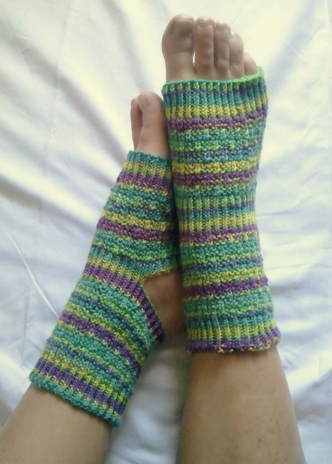 Yoga Pedicure Socks in Purple Blue and Green Stripes Hand Knit ...