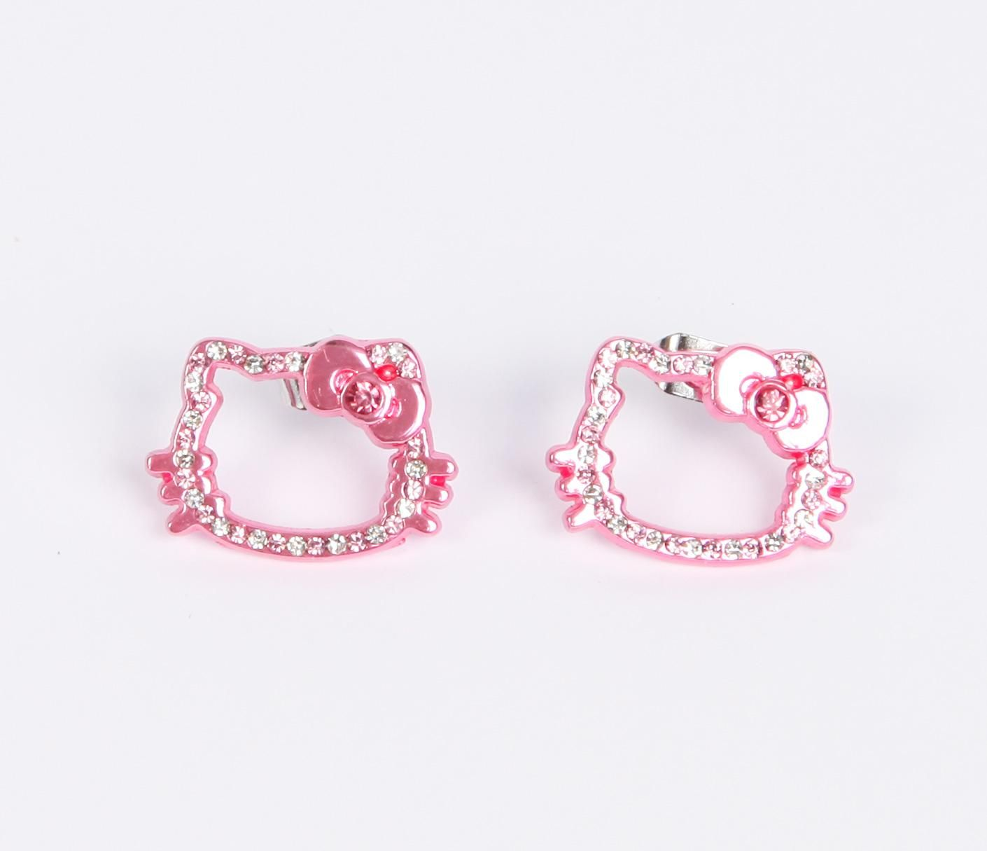 Hello Kitty Face Stud Earrings: Pink Gold | Jewelry. | Pinterest ...
