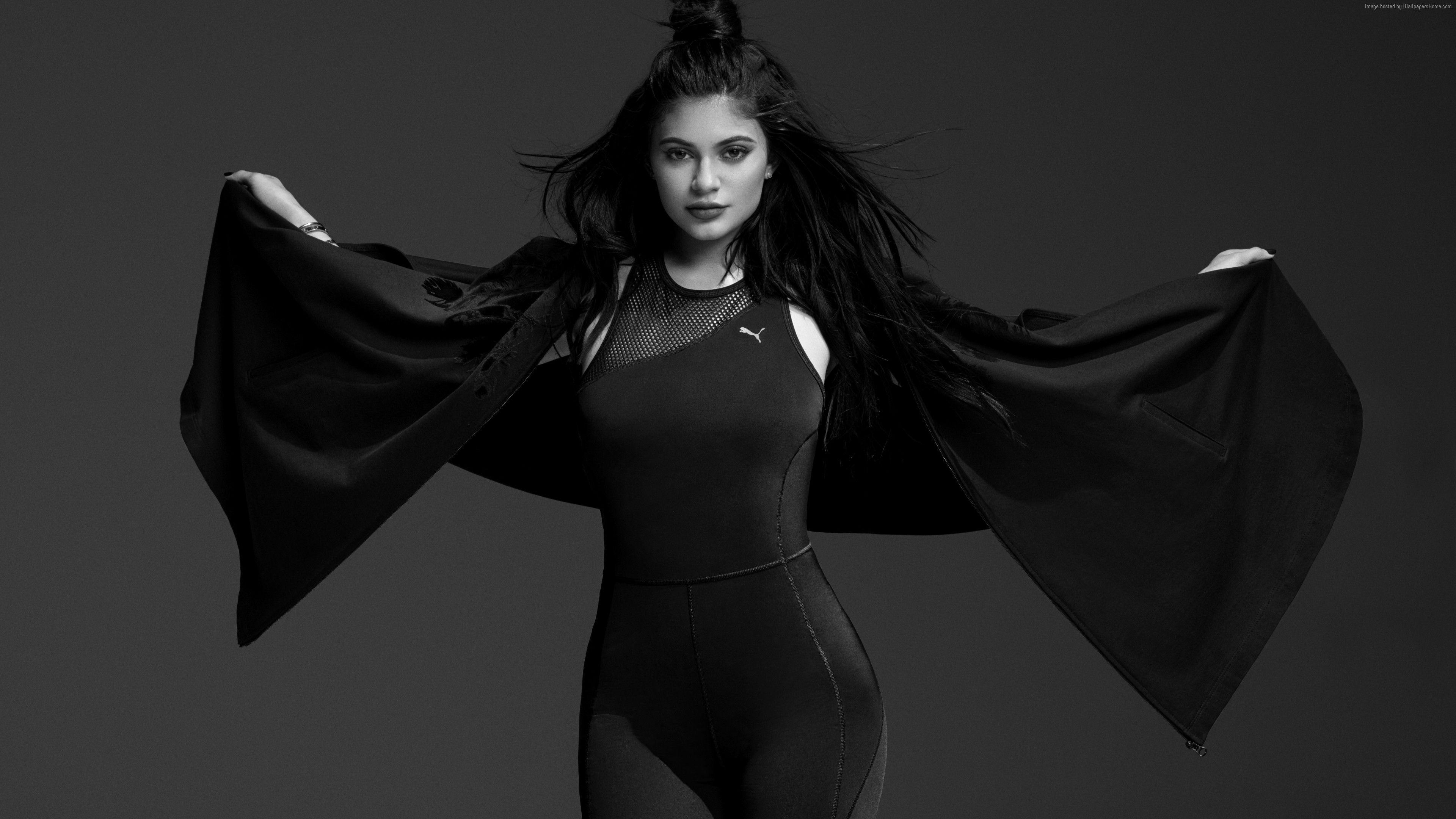 Wallpaper Kylie Jenner, Puma, black, 6K, Celebrities