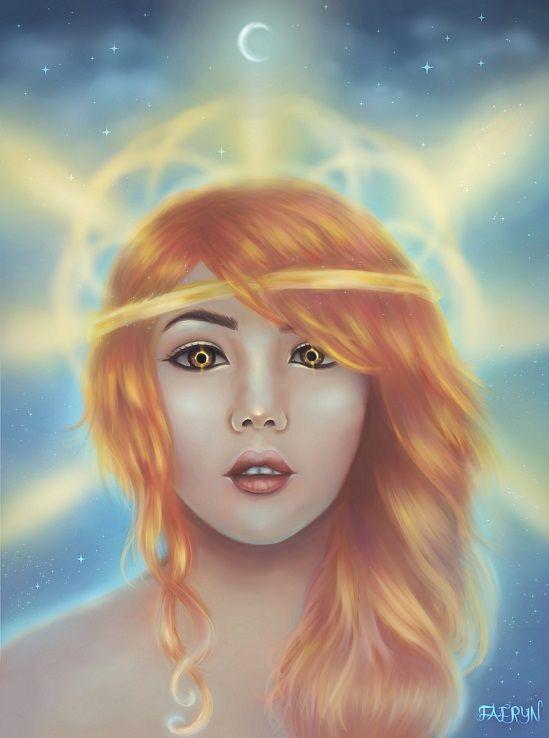 Amaterasu Based On The Shinto Sun Goddess Digital Painting 2015
