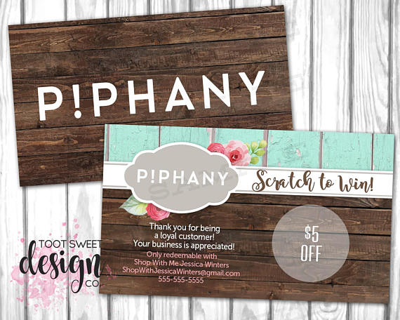 Piphany scratch off card piphany scratcher sticker coupon promo personalized giveaway piphany prizes rustic wood shabby chic printable