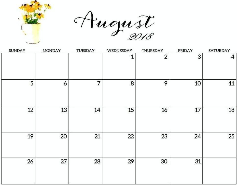 August 2018 Calendar Cute Images Pictures Tumblr Pinterest 2018