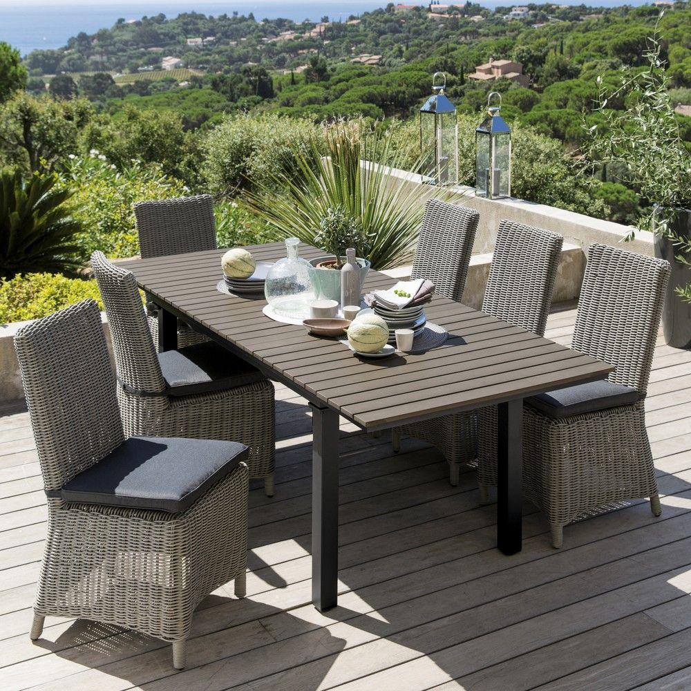 Table De Jardin En Aluminium Gris L 213 Cm Maisons Du Monde Table De Jardin Table Et Chaises De Jardin Chaise De Jardin